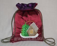 Gift sack 'A winter izba' satin - the Satin bag