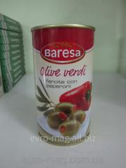 Olives 350 g, green with Baresa Olive verdi pepper