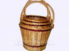 The wattled Bucket basket from 3 pieces,