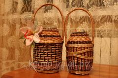 Плетенные бутылки из натуральной лозы, бутилка