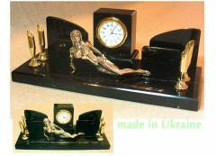 Desk set from a stone marble with hours and the