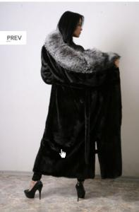 Coat from natural fur of mink under bel