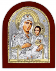 On a wooden basis the Jerusalem Icon of the Mother
