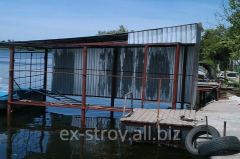 Piers for boats, garage for the boat ashore, shod