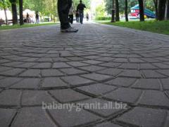 Sidewalks, pavings, stones polished on the