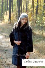 Fur coat from an artificial black mink