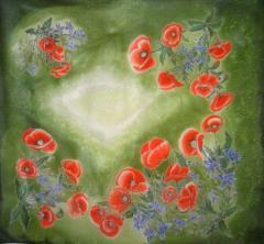 Shawl, hand painting on natural silk