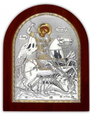 Saint Georgy Ikona silver with gilding on a wooden