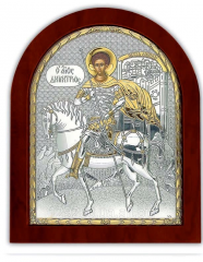 Saint Dmitry Ikona silver with gilding on a wooden