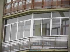 Aluminum glazing of balconies from the aluminum