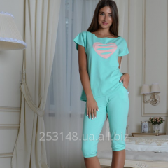 Women's t-shirt with heart, mint, the size S