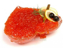 Caviar of humpback salmon fresh weighed out