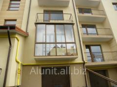 Aluminum glazing of balconies