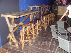 Natural wood bar table