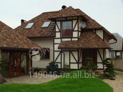 The décor of the façade of wood