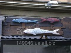 Wooden signboard for sushi bar