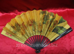 Fan a bamboo and silk in a box (33 cm)