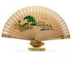 Fan wooden carved (20,5 cm) (10 pieces / unitary