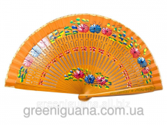 Fan varnished, wooden with drawing