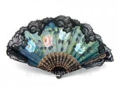 Fan lacy black (24 cm) (12 pieces / unitary