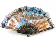 Fan lacy black Venice (24 cm) (12 pieces / unitary