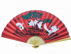 Fan of wall 7 cranes on a red background silk (90