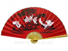 Fan of wall 8 cranes on a red background (90 cm)