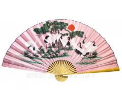 Fan of wall 8 cranes on a pink background silk (90