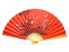 Fan a wall Bamboo with an Oriental cherry on a red