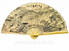 Fan a wall Landscape on a yellow background silk