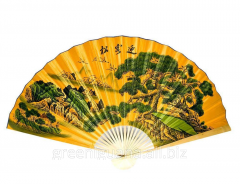 Fan a wall Landscape with the flying cranes on a