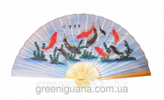 Fan wall Fishes on a blue background silk (90 cm)