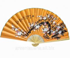 Fan wall the Oriental cherry on an orange