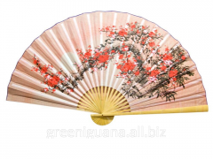 Fan wall the Oriental cherry on a pink background
