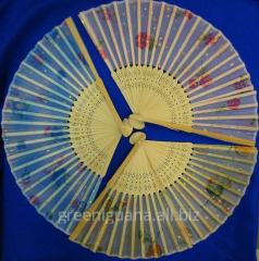 Fan silk and bamboo (20,5 cm) (10 pieces / unitary