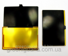 Card holder black and gold metal