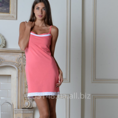 Nightgown on shoulder-straps, coral, the size S
