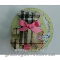 Clip bonbon bear (fabric, bow: pink, crimson)