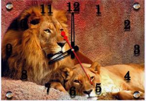 Картина с часами Царь зверей. Материал: стекло,
