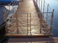 Hand-rail from stainless steel for pools, ladders,