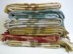 Textile production, plaids wool in assortment