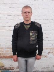Пуловер с камуфлированными накладками, трикотажная вязанная спецодежда
