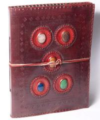 Leather photo album of 5 stones