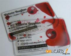Transparent business cards from plastic