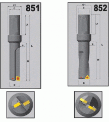 Сверла, тип 851, 852 ЕСМТ 0602, ССМТ 09ТЗ -1204, WCMT 0503