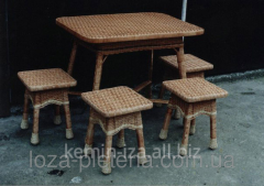 Set of 4 stools, wicker furniture from the