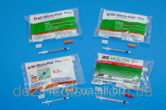 The insulin syringe BD Micro-Fine Plus with the