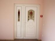 Дверь ПВХ в офис с сендвич панелью Сапфир витраж 3