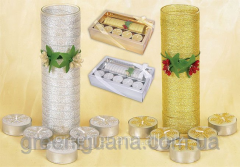 Set of candles (5 pieces) with glass a candlestick