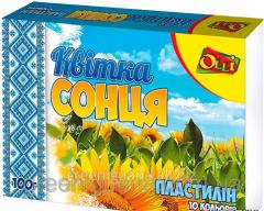 Plasticine of 10 flowers of 100 g of Kv_tk sontsya
